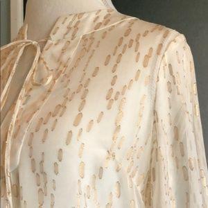Trina Turk Ivory and Gold Metallic Silk Top NWT